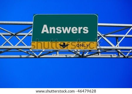 Large traffic billboard the word answers on it