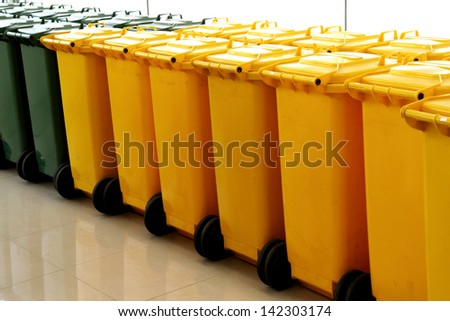 Large trash cans (garbage bins) for sell - stock photo