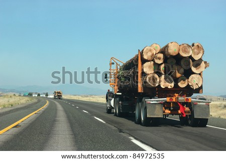 Large truck transporting wood on the road - stock photo