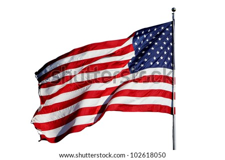"Large U.S. Flag ""Old Glory"" blowing in a strong wind - isolated on white background - stock photo"