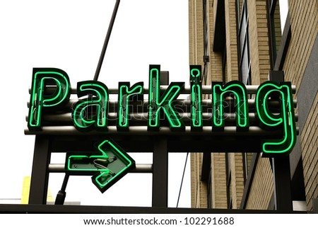 large underground parking garage in the old town area of Portland Oregon - stock photo