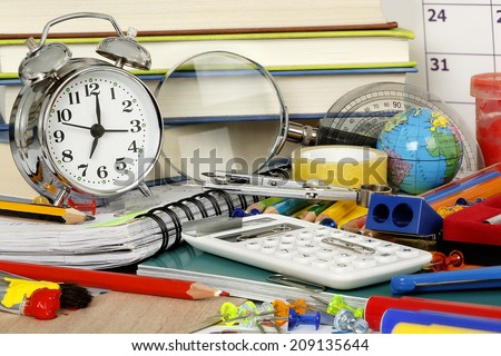 large variety of school items - stock photo