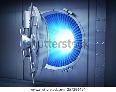 Large vault with binary code inside - data security concept  - stock photo