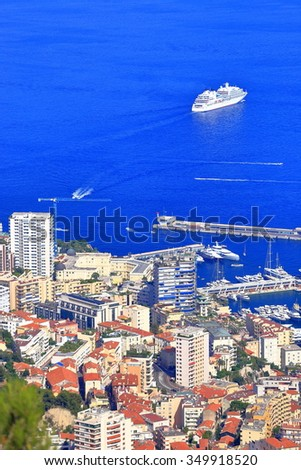 Large vessel on the Mediterranean sea outside the harbor of Monaco, French Riviera - stock photo