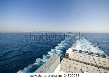 large vessel's wake ( ship is turning ) - stock photo