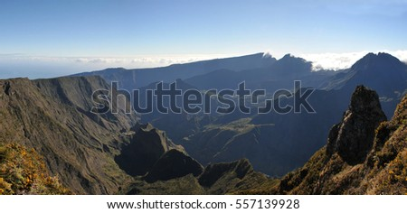 Large View of Cilaos Cirque of Reunion Island with blue sky in the morning light