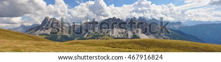 Large view of the Dolomites from the north of Italy