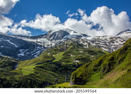 Large view of the high mountains Alps Austria