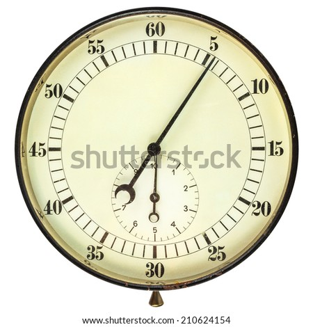 Large vintage stopwatch isolated on a white background - stock photo