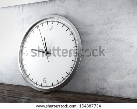 Large wall clock in interior - stock photo