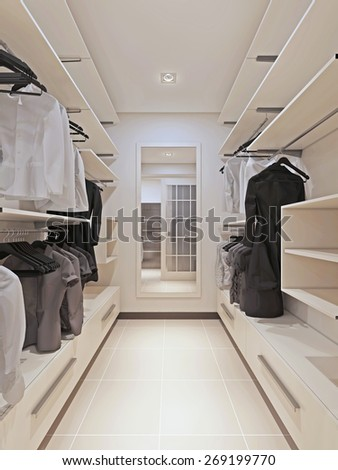 Large wardrobe in a modern style interior. 3d render - stock photo