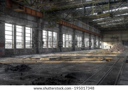 Large warehouse with large windows - stock photo