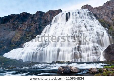 large waterfall - stock photo