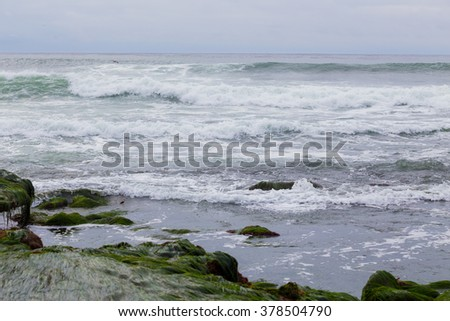Large waves during a Southern swell at La Jolla Beach in San Diego California.