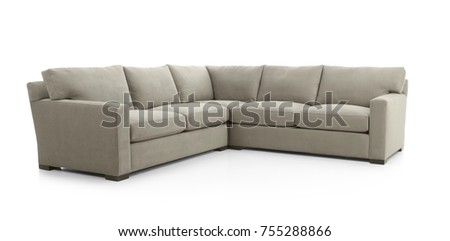 Large White Angled Sofa, Isolated