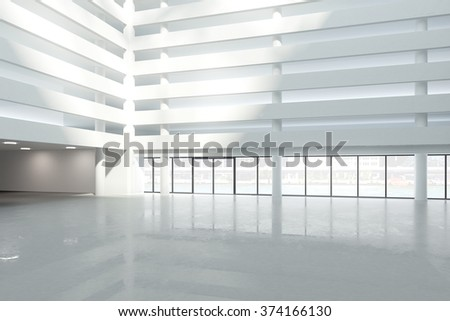 Large white hall of modern business center 3D Render - stock photo