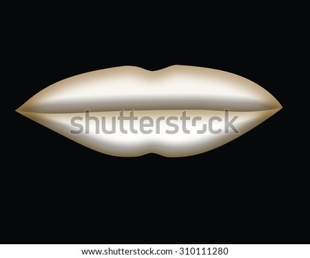 Large White Lips with Gold Edging on Black