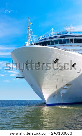large white mooring cruise ship - stock photo