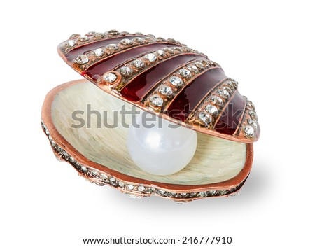 Large white pearl in a casket  shell-shaped - stock photo