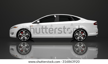Large white sedan on black background. Raster illustration. The three-dimensional look. - stock photo