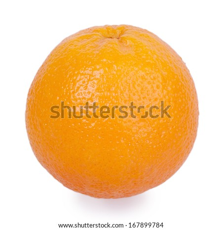 large whole orange isolated on white background