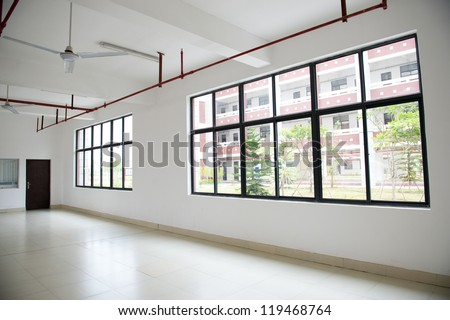 Large window empty interior view - stock photo