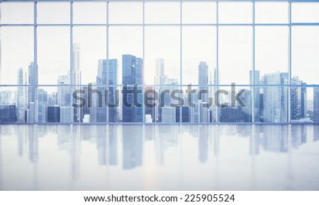 large window of the white office - stock photo