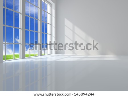 Large window room illuminated by sunlight - stock photo
