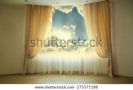 Large window with fantastic sunlight - stock photo
