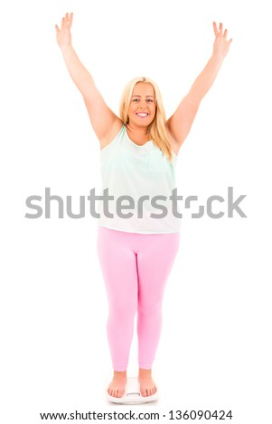 Large woman on a scale - diet concept - stock photo