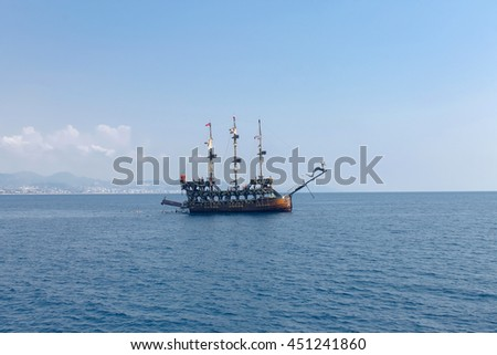 Large wooden ship in the sea