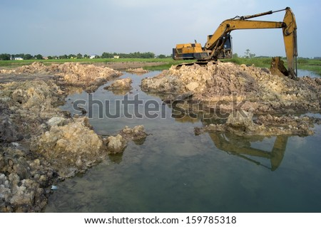 Large Yellow Back Hoe at site - stock photo