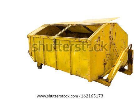 Large yellow metal recycle garbage bin in white background with clipping path