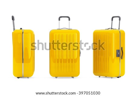 Large Yellow Polycarbonate Suitcases on a white background - stock photo