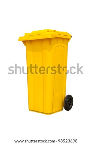 Large yellow trash can (garbage bin) with wheel, isolated on white background - stock photo