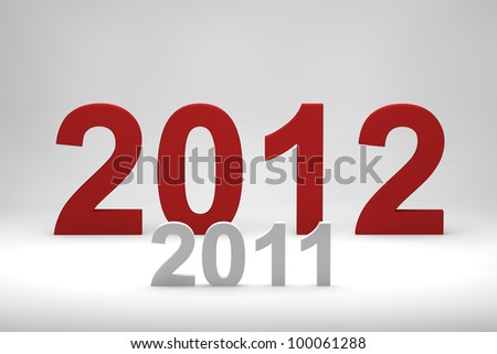 Larger 2012 red text over smaller 2011 - stock photo