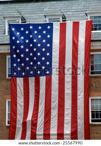 Largest  American flag ever seen  in front of city hall  in Alexandria city, Virginia Va, USA - stock photo