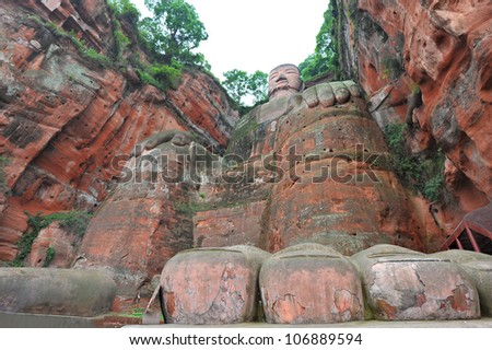 Largest buddha statue in the world in Leshan - China - stock photo