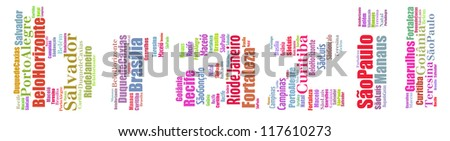 Largest cities or towns of Brazil info-text graphics and arrangement concept (word cloud) on white background
