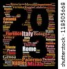 Largest cities or towns of Italy info-text graphics composed in 2013 sign shape concept (word cloud) - stock vector