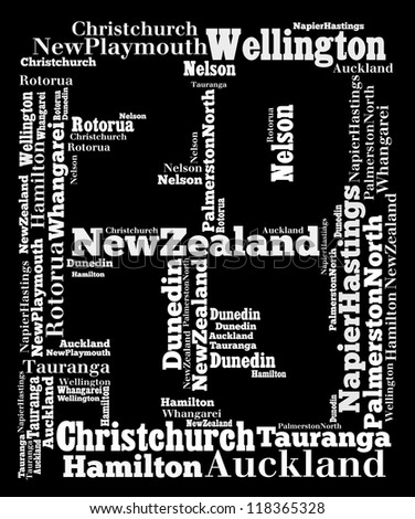 Largest cities or towns of New Zealand info-text graphics composed in 2013 sign shape concept (word cloud)