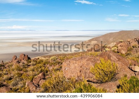 Largest salt flat in the world - Salar de Uyuni, Bolivia - stock photo
