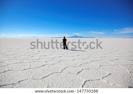 Largest salt flat in the world - Salar de Uyuni, Bolivia, South America  - stock photo