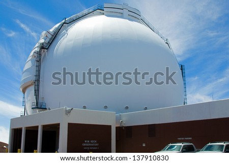 Largest telescope in the world (W. M. Keck Telescope on Mauna Kea) - stock photo