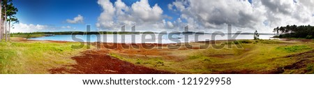 largest water reservoir of Mauritius - stock photo