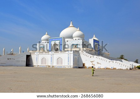 LARKANA, PAKISTAN?? MARCH 28 2015: Bhutto Family Mausoleum was constructed during 1993 to 1997 and revised later. It contains the graves of former Prime Minister Zulfikar and Benazir Bhutto. - stock photo