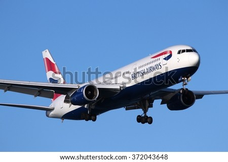 LARNACA, CYPRUS - MAY 17, 2014: British Airways Boeing 767-300ER lands in Larnaca International Airport. British Airways is the flag carrier of the UK and part of Oneworld alliance. - stock photo