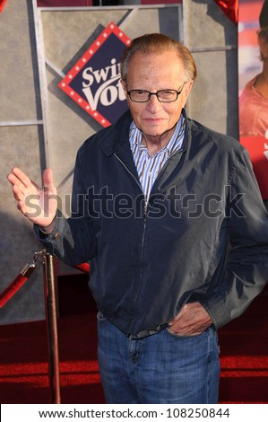 """Larry King  at the Los Angeles Premiere of """"Swing Vote"""". El Capitan Theatre, Hollywood, CA. 07-24-08 - stock photo"""