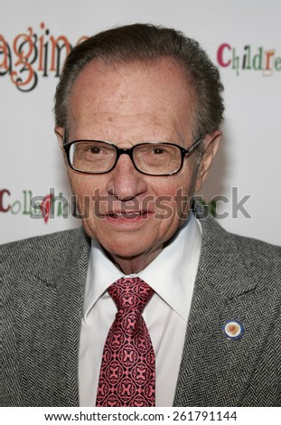 """Larry King attends the opening of """"The Children's Collection"""" held at the Junior Arts Center Gallery at Barnsdall Park in Hollywood, California on April 22, 2006. - stock photo"""
