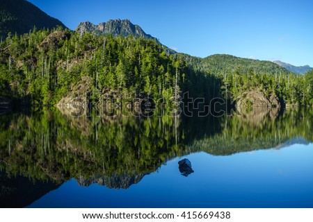Larry Lake at Hydro Hill on Pacific Rim HIghway to Tofino, British Columbia, Canada - stock photo